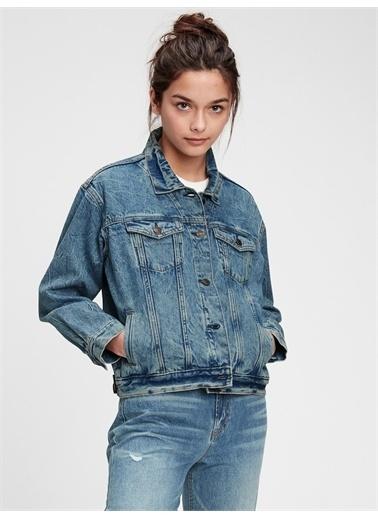 Gap Genç Kız   Teen Oversize Denim Ceket Mavi